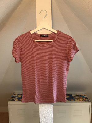 Brandy & Melville Ribbed Shirt white-red