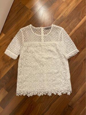 Hallhuber Top en maille crochet blanc