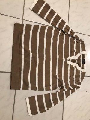 Massimo Dutti T-shirt rayé marron clair-blanc