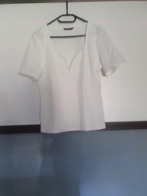 SheIn Camisa con cuello V blanco