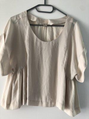 H&M T-shirt court crème tissu mixte