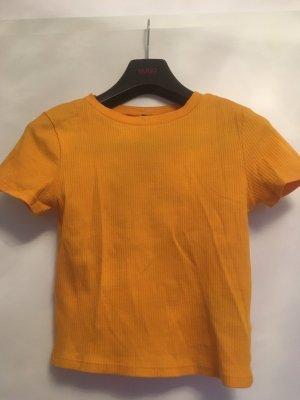 H&M Divided Geribd shirt licht Oranje