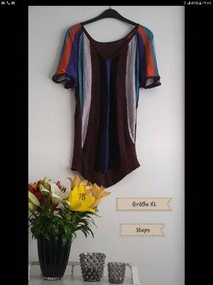 Steps Koszulka z dekoltem woda czarny-ciemnobrązowy