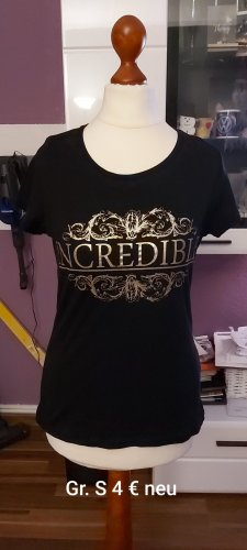 T-Shirt black-gold-colored
