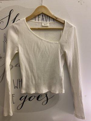 GinaTricot Prążkowana koszulka biały