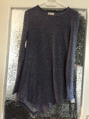 Camicia lunga blu fiordaliso-argento Tessuto misto