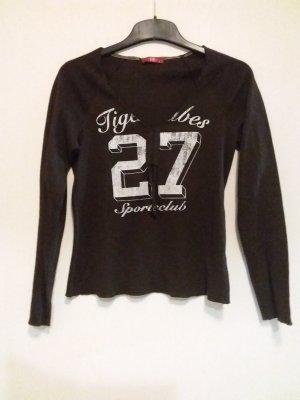Shirt EDC Langarm Gr S, V Ausschnitt mit Kordel