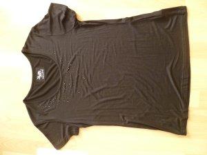 Shirt elegant mit Steinchen am Ausschnitt Kurzarm schwarz von Cosy Chic Gr.38