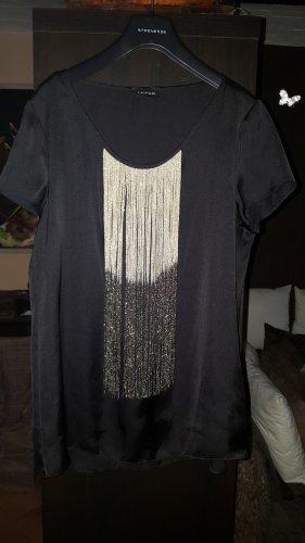 Taifun Camisa con cuello caído negro-color oro