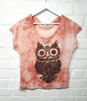 Shirt Eule Glitzer Pailletten Bronze Batik Washed Look Gr. S/ 36