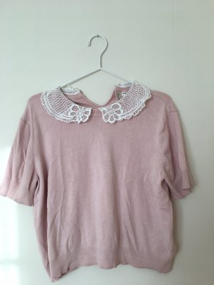 H&M Camisa de ganchillo color rosa dorado