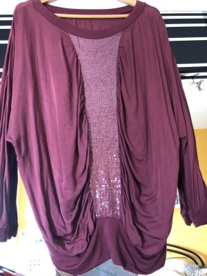 Cowl-Neck Shirt dark red