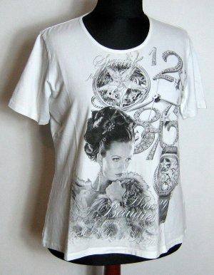 Shirt Fotodruck Strass D&C Exquiait Weiß XXL Kurzarm Top