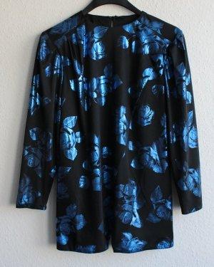 Shirt für festliche Anlässe, schwarz/blau Gr. 40, vintage aus den 80er
