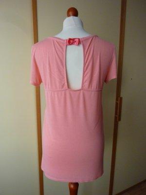 Shirt Gr. 38 40 rosa rose apricot peach lachs Top Schleife Satin Rückenschlitz