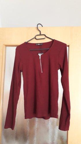 FB Sister Prążkowana koszulka bordo
