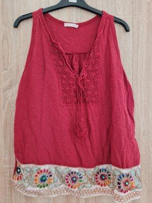 italienische Mode Koszulka typu batik głęboka czerwień