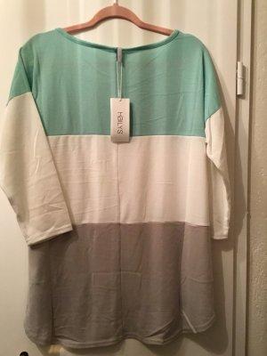 Haily's Camisa de rayas marrón claro-turquesa
