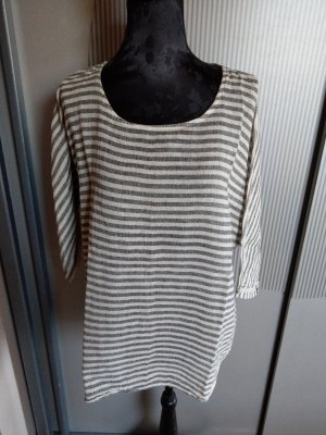 Shirt grau beige gestreift Made in itlay