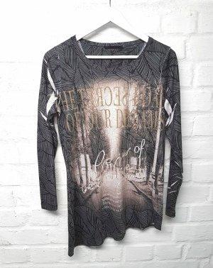 Shirt Grau Creme Print My Own Gr. 36/ S