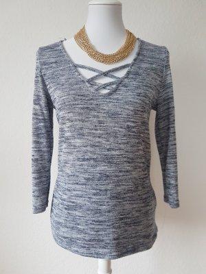 Shirt grau mit Schnüroptik
