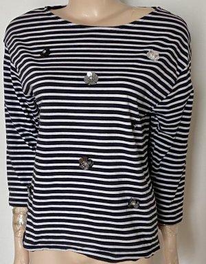 Bonita Koszulka w paski w kolorze białej wełny-ciemnoniebieski Bawełna