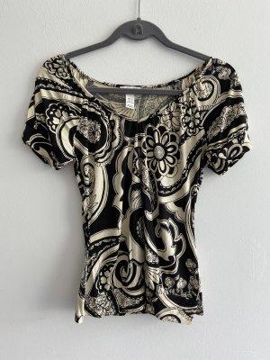 H&M T-shirt imprimé beige clair-noir