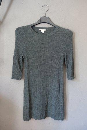Shirt, H&M, grau, gerippt, Rippshirt, 3/4-Arm, Meri...wolle, Wolle
