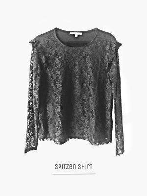 Shirt in schwarz Black mit spitze vorne & Ärmel langarm / Tom Tailer / L