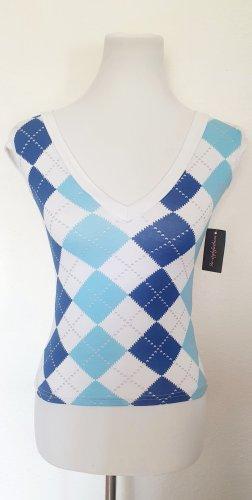 Shirt kariert blau weiss Rauten Muster Gr 36