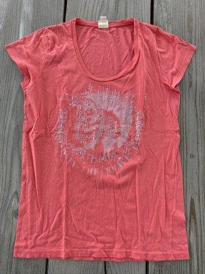 Shirt korallfarben mit Diesel-Kopf & Pailletten Diesel Gr. M