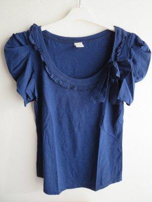 Shirt Kurzarm Rundhals dunkelblau Schleife Größe S