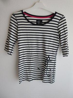 marc cain sports Koszulka w paski biały-czarny Bawełna