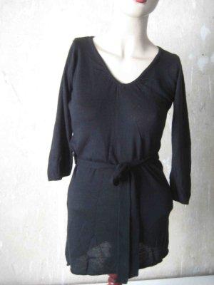 Shirt, lang, schwarz, mit Gürtel - casual Look