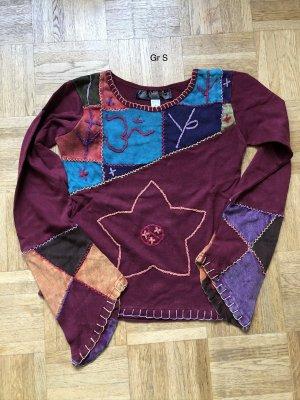Shirt Langarm Baumwolle purpur rot Goa Ethno Gr.S