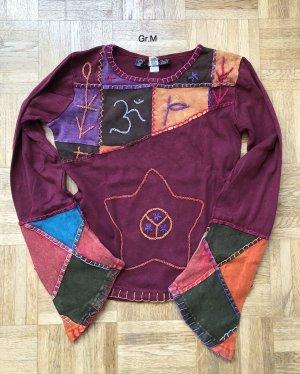 Shirt Langarm Baumwolle purpur rot Stonewashed Gr.M