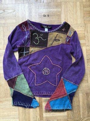Shirt Langarm dunkelviolett Baumwolle Stonewashed Gr.S
