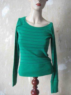 H&M Geribd shirt groen-donkerblauw