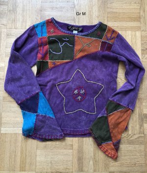 Shirt Langarm Stonewashed dunkelviolett stonewashed Baumwolle Gr.M