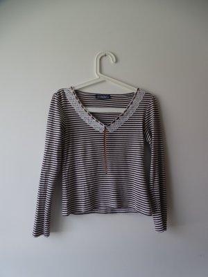 Shirt Langarm V-Ausschnitt Streifen Spitze Braun Weiss Gr.32/34 Elements (NP: 28€)