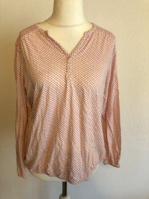Shirt Langarmshirt Bluse rosa weiß Gr. 44/46