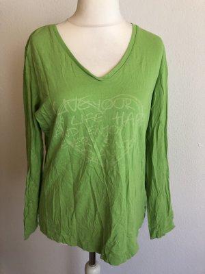 Shirt Langarmshirt Longsleeve Basic V-Neck grün Gr. 40/42