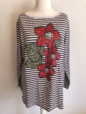 Shirt Langarmshirt Longsleeve gestreift mit Print oversized