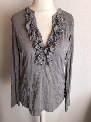 Shirt Langarmshirt Longsleeve grau mit Rüsschen