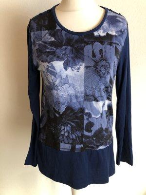 Shirt Langarmshirt Longsleeve mit Print dunkelblau