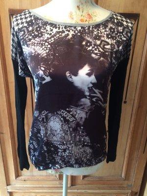 Shirt Langarmshirt Metall Pailletten