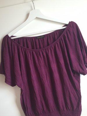 Lascana Koszula typu carmen purpurowy-brązowo-fioletowy