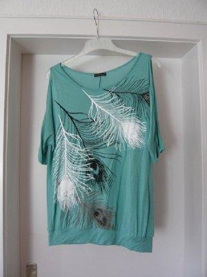 Shirt, LASCANA, Gr. 34, Viskose, Federprint, mint, neuwertig