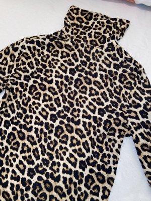 H&M Koszulka z golfem czarny-jasnobrązowy