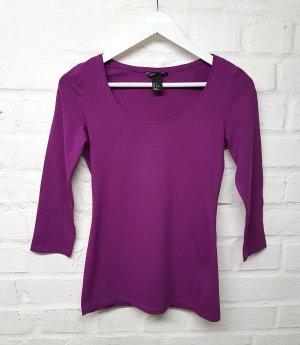 H&M Camisa de cuello barco violeta-violeta oscuro tejido mezclado
